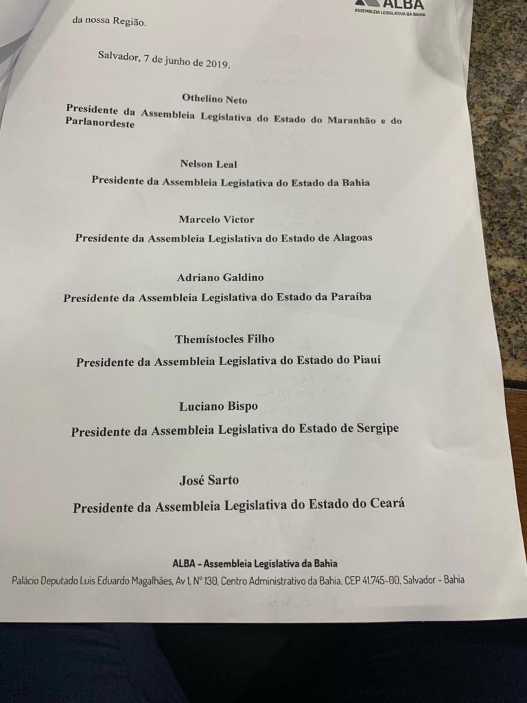 37bba7d2 93ac 4e4b ba7b 78ea950d4dfd - Adriano Galdino participa de reunião de presidentes de Assembleias Legislativas e discute melhorias para o Nordeste