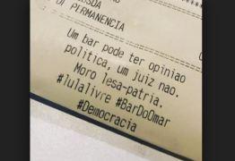 Bar deixa recado para Moro na conta: 'Um bar pode ter opinião política, um juiz não. Moro lesa-pátria'