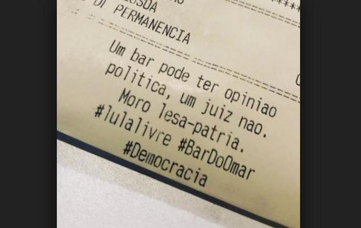 Capturar2 7 - Bar deixa recado para Moro na conta: 'Um bar pode ter opinião política, um juiz não. Moro lesa-pátria'