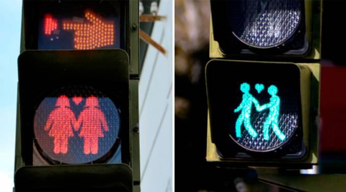 cali - Semáforos para pedestres mostram bonecos homoafetivos