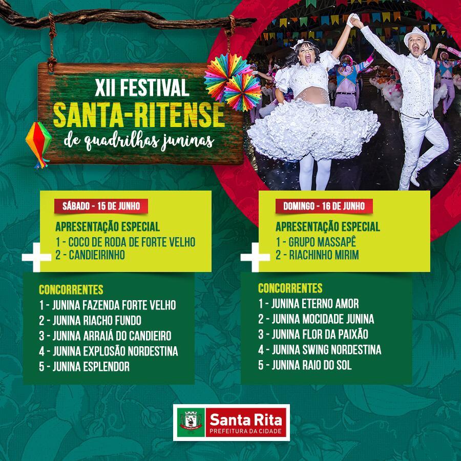 festival - XII Festival Santa-ritense de Quadrilhas Juninas começa neste sábado