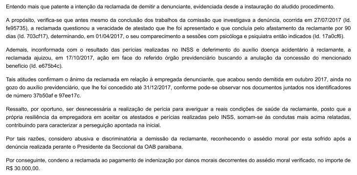 oab - CONDENADA: OAB-PB demitiu ex-funcionária, vítima de assédio sexual, durante licença médica alegando justa causa - VEJA A SENTENÇA