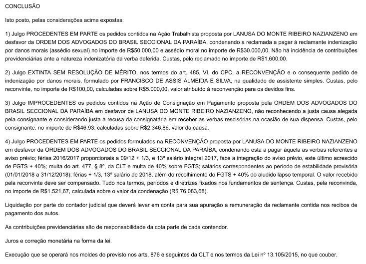 penas sentença - CONDENADA: OAB-PB demitiu ex-funcionária, vítima de assédio sexual, durante licença médica alegando justa causa - VEJA A SENTENÇA