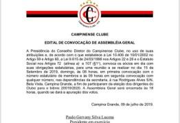 Cronograma para eleição no Campinense é divulgado pelo Conselho Deliberativo
