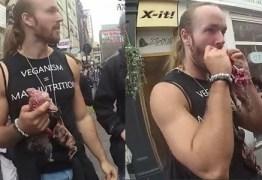 Homens são multados após comerem esquilos crus em mercado vegano