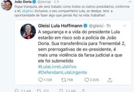 João Dória responde Gleisi e diz que Lula terá a oportunidade de trabalhar em presídio