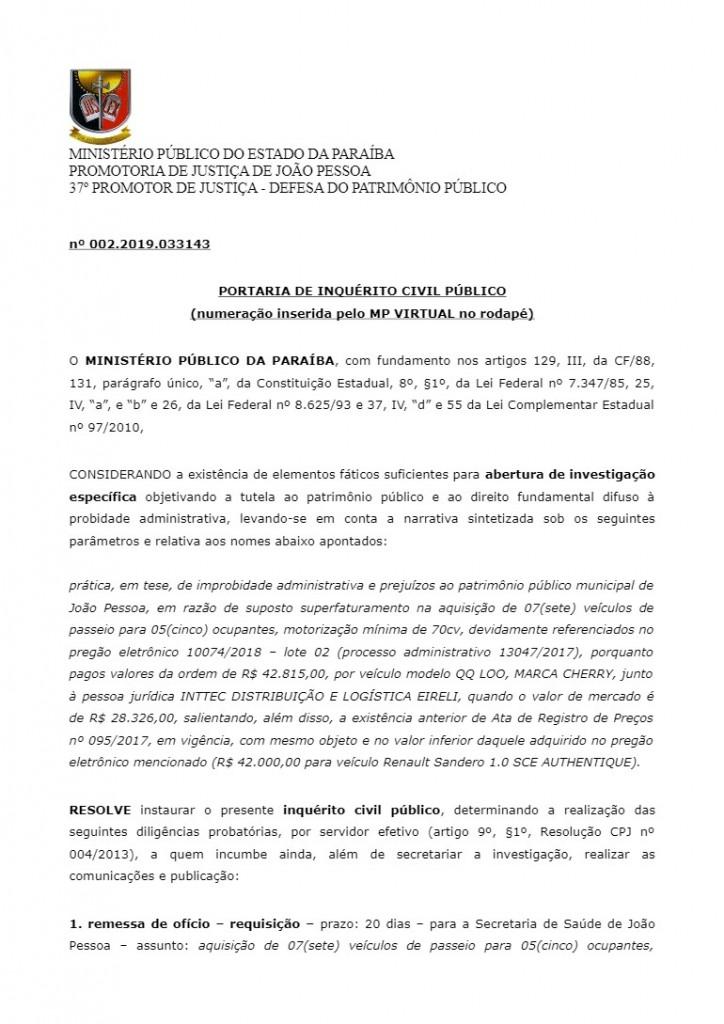 Documento MP - INQUÉRITO: Ministério Público investiga superfaturamento na compra de veículos na Secretaria de Saúde de JP