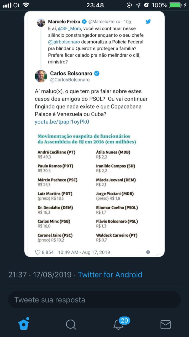 WhatsApp Image 2019 08 17 at 23.49.01 - Carlos Bolsonaro publica lista de transações suspeitas que inclui irmão