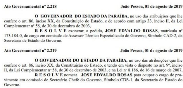 doe edvaldo rosa - Edvaldo Rosas é nomeado para cargo de Secretário Chefe do Governo