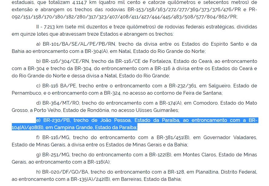 privatização 1 - DECRETO PREVÊ PRIVATIZAÇÕES: Paraíba poderá ter cobrança de pedágio com privatização de BRs 101 e 230