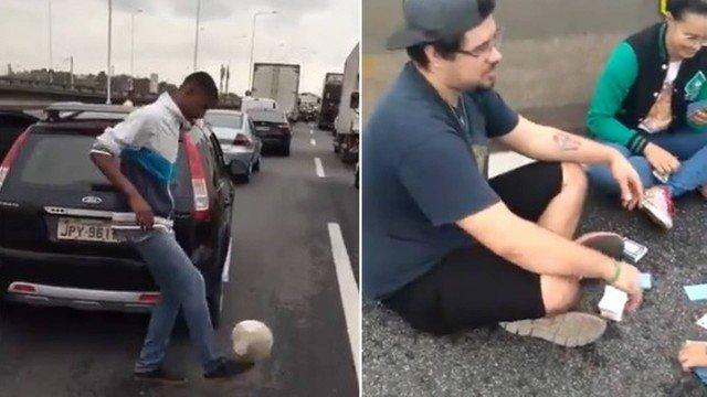 xextra ponte.jpg.pagespeed.ic .xdnGQcBoIn - Pessoas retidas na Ponte Rio-Niterói passam o tempo soltando pipa, brincando de bola e jogando cartas na pista