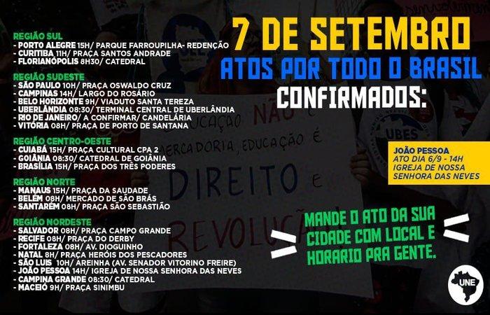 20190904141447808842i - MANIFESTAÇÃO MARCADA: atos contra Bolsonaro no 7 de Setembro já têm cerca de 100 cidades confirmadas