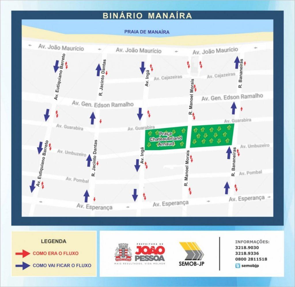 Binário Manaíra 1024x995 - Semob-JP altera trânsito em Manaíra com binários, ciclofaixa bidirecional e mudança de estacionamento