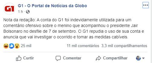 G1 - Página do 'G1' é utilizada para xingar criança que abraçou Bolsonaro em desfile; site diz que houve 'uso indevido'