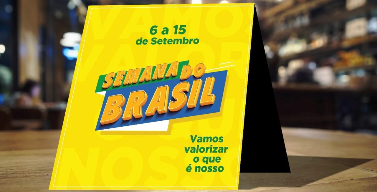SINALIZACAO DE MESA SEMANA DO BRASIL 14X14cm - Governo lança campanha para estimular consumo na Semana da Pátria