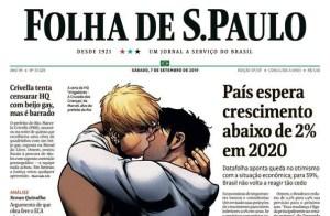 capa da folha com personagens gays se beijando 300x196 - Pedido de Crivella para recolher livro que mostra beijo gay é repudiado e ganha capa da Folha de São Paulo