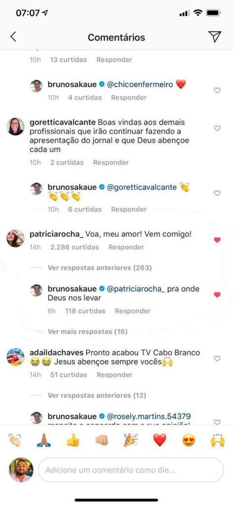 3dfec99b 3c68 4b90 8474 5245486f563f - 'PRA ONDE DEUS NOS LEVAR': Bruno Sakauê responde comentário de Patrícia Rocha após saída da TV Cabo Branco