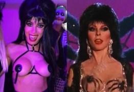 Fantasiada de Elvira, Anitta ousa e deixa seios à mostra em festa – VEJA VÍDEO