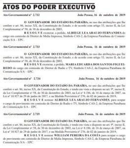 DOE 17 264x300 - MARIA EDUARDA DEMITIDA: João Azevêdo faz modificações em diretorias da Empresa Paraibana de Comunicação - ENTENDA