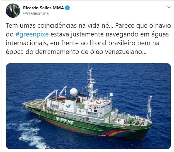GREENPIXE GREENPEACE ÓLEO COMUNISMO - Ricardo Salles sugere que Greenpeace tem relação com óleo no Nordeste