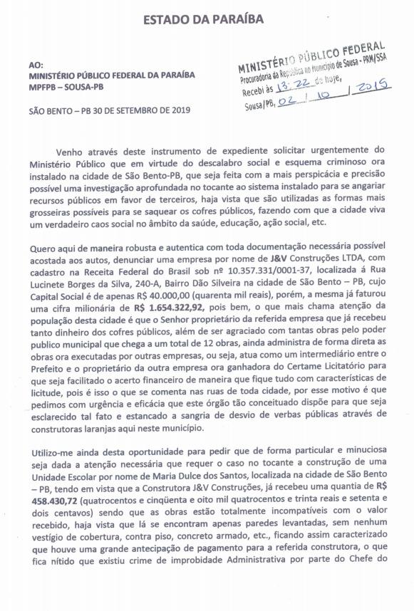 WhatsApp Image 2019 10 02 at 18.36.50 2 - Suspeita de superfaturamento em obras: MPF e PF recebem denúncia contra prefeitura de São Bento - VEJA DOCUMENTO