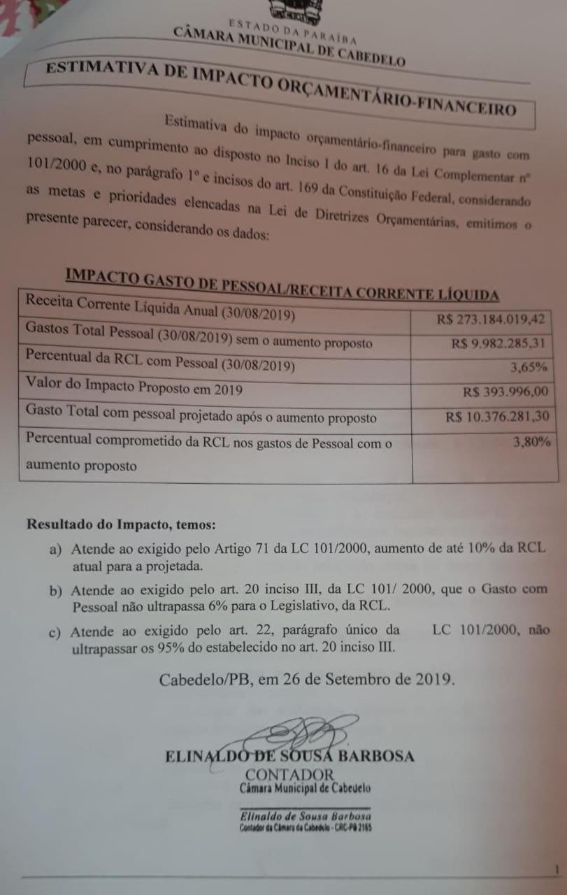 WhatsApp Image 2019 10 11 at 17.15.57 3 - IMPACTO DE R$ 400 MIL: vereador denuncia criação de 15 cargos desnecessários na Câmara de Cabedelo; VEJA VÍDEOS E DOCUMENTOS