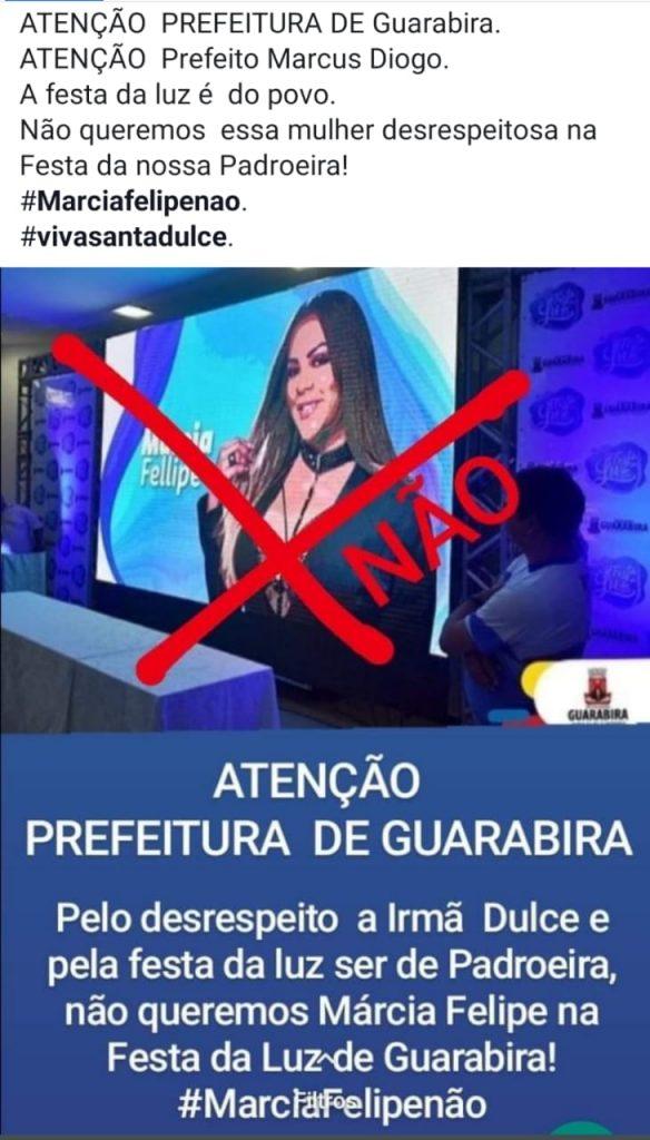 dulce - Festa da Luz: população de Guarabira pede que prefeitura cancele show de Márcia Fellipe após cantora criticar canonização de Irmã Dulce