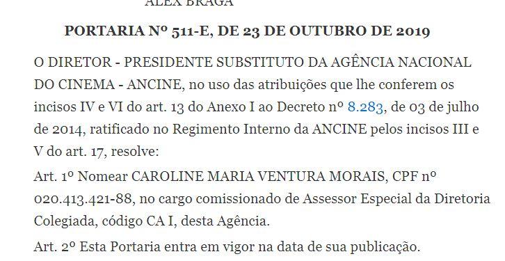 nomeação caroline - Filha do ex-senador Efraim Moraes, nomeada para cargo Ancine, é humorista e já ganhou prêmio