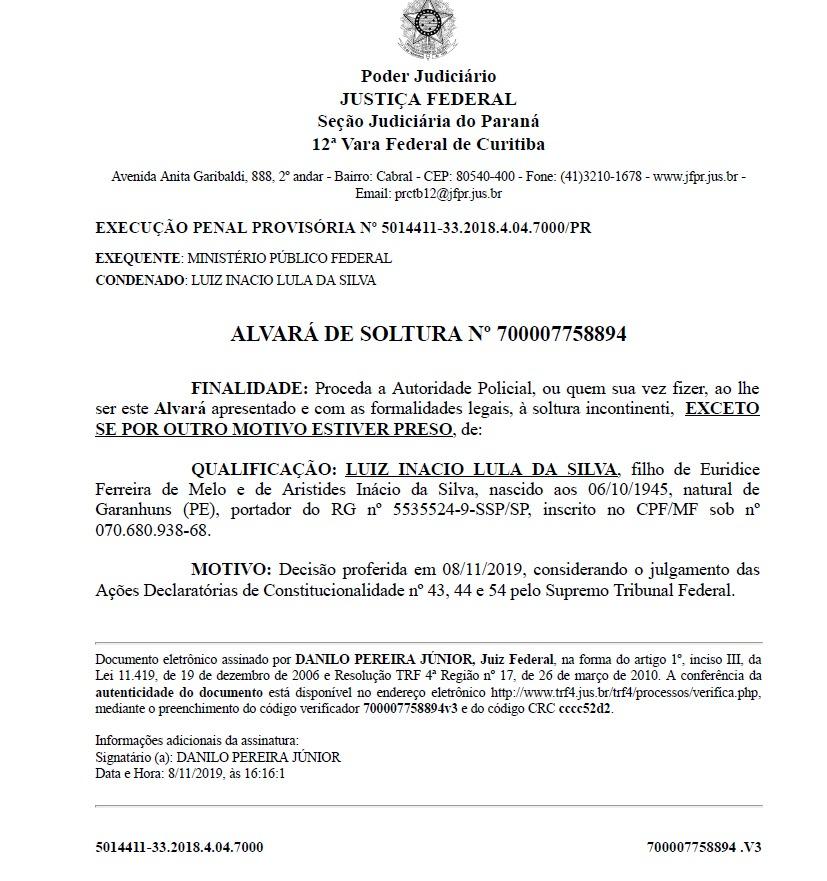 35425a35 db3c 45c9 a07b 55b05b62e6f3 - Confira alvará que garantiu a liberdade do ex-presidente Lula