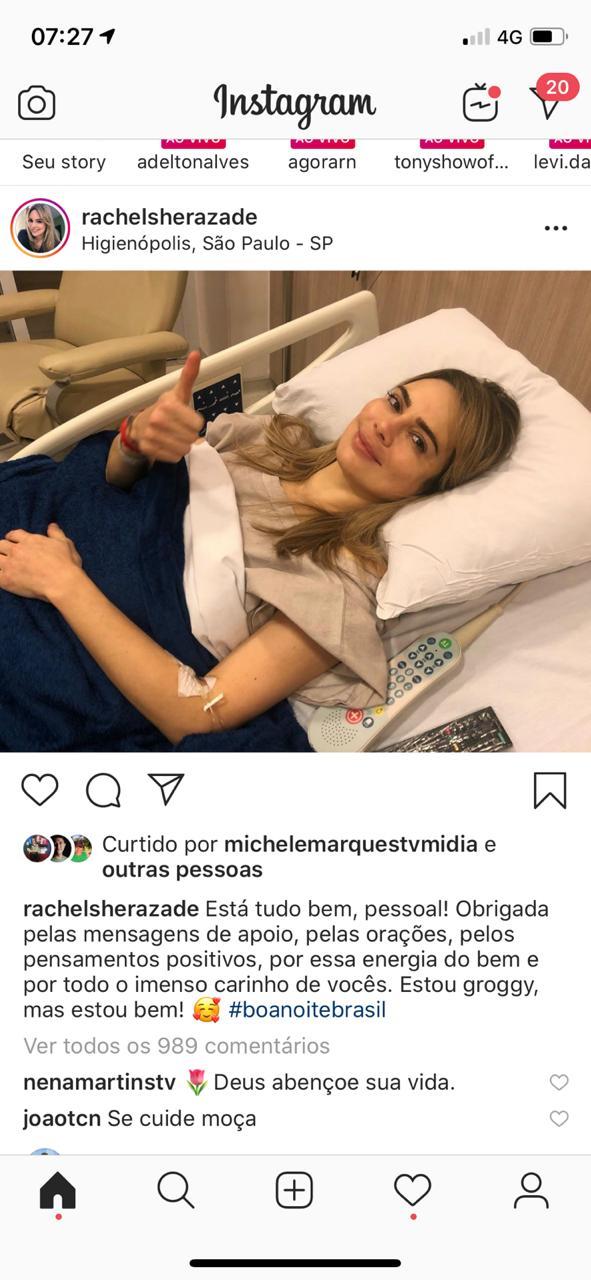 69734a95 36e5 437c 9393 fc11e363879d 1 - Após cirurgia Rachel Sheherazade posta foto em hospital e agradece: 'Obrigada pelas mensagens de apoio'