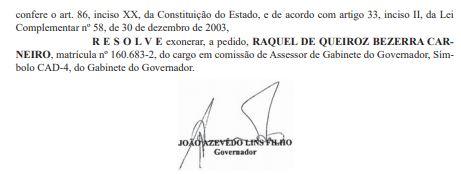 DOE CARNEIRO 2 - GOVERNADOR ACEITOU: Após entrega de cargos, esposa de Bosco Carneiro deixa cargo do Estado