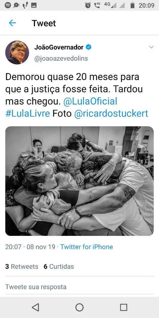 WhatsApp Image 2019 11 08 at 20.11.47 - João Azevedo comenta libertação de Lula: 'demorou quase 20 meses para que a justiça fosse feita. Tardou, mas chegou'
