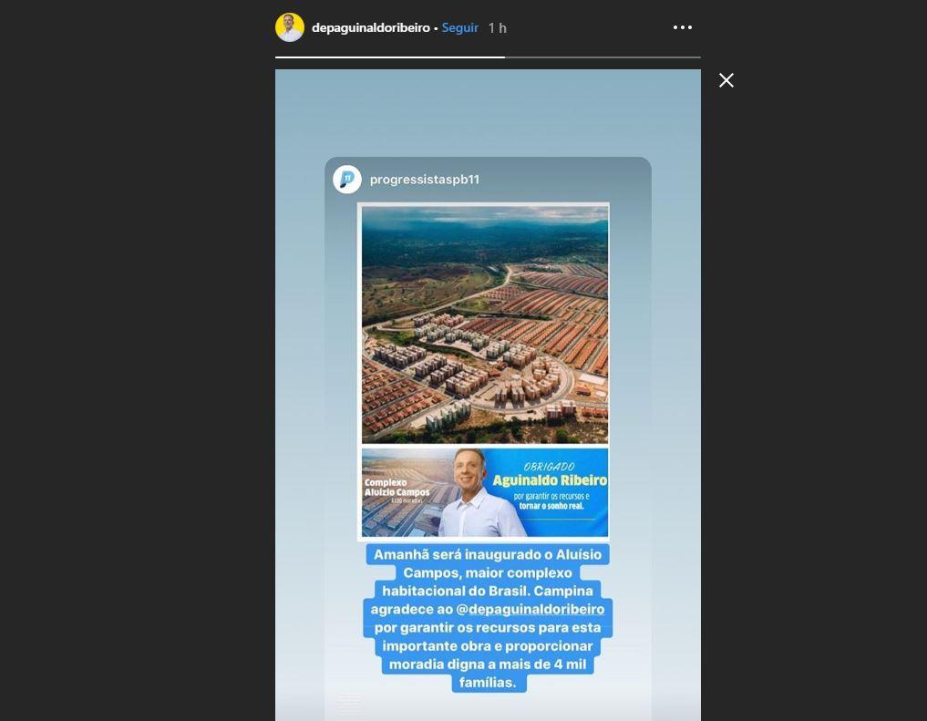 aGUINALDO - Reconhecimento: Progressistas agradece empenho de Aguinaldo Ribeiro por garantir os recursos e tornar realidade Complexo Aluísio Campos