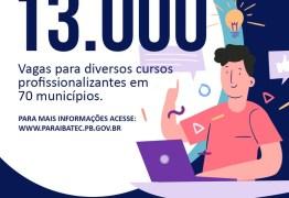 13 MIL VAGAS: Paraíbatec abre inscrições para 39 cursos profissionalizantes em 70 municípios da Paraíba
