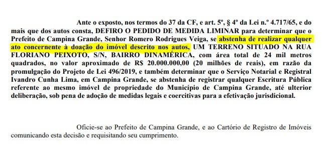 decisão - Juiz suspende doação de terreno milionário da prefeitura para casa de shows - VEJA DECISÃO