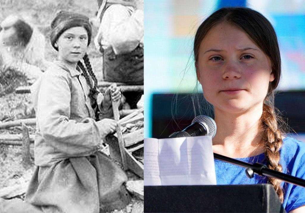gretas 1024x718 - Foto de 1898 em acervo de universidade tem 'sósia' de Greta Thunberg em mina no Canadá