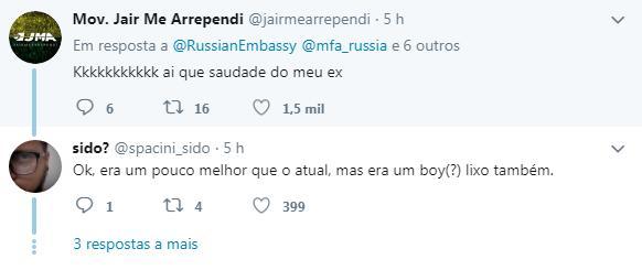 tuíte 2 - 'SAUDADE DO EX': Embaixada russa 'ignora' Bolsonaro em foto do Brics e usa arquivo de 2017 com Temer