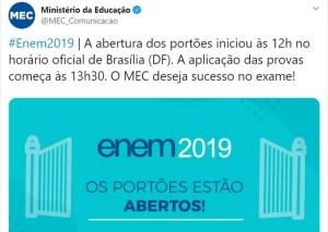 twitter mec 300x213 - MEC erra horário e anuncia abertura de portões nos locais de prova do Enem uma hora antes