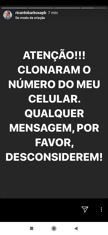 38da8178 7c48 4f8f 92d7 d2aebe94cbf1 - ATAQUE DE HACKERS: Líder do Governo, Ricardo Barbosa tem celular clonado