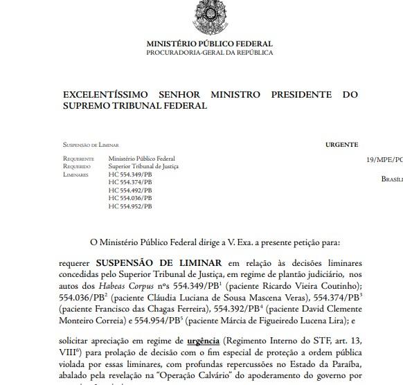 PGR - EXCLUSIVO: MPF recorre ao STF e pede prisão 'urgente' do ex-governador Ricardo Coutinho; LEIA