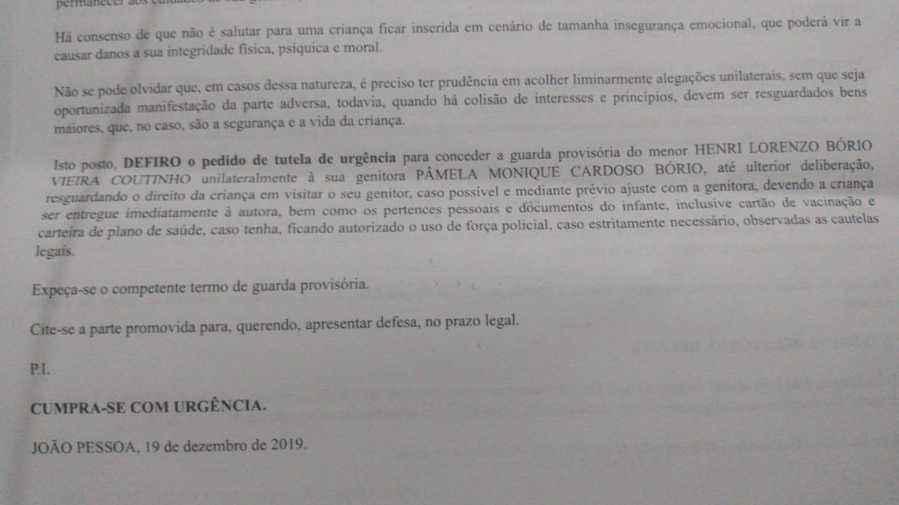 WhatsApp Image 2019 12 19 at 20.39.35 - Ricardo Coutinho perde guarda do filho emliminar - VEJA DOCUMENTO