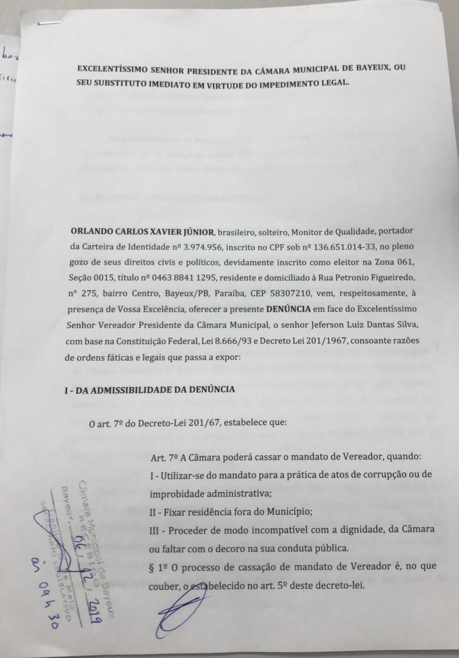 add67e4c 27a5 4aa9 9d69 857f7883177c - Popular apresenta pedido de afastamento de Kita da presidência da Câmara de Bayeux, e parlamentar nega irregularidades
