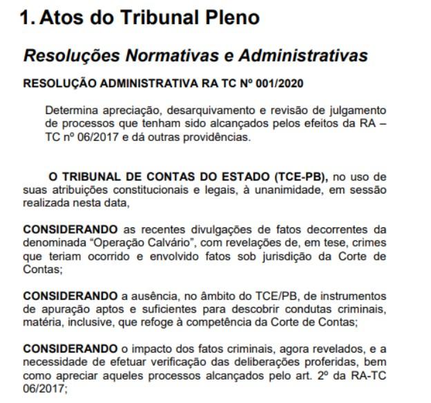 1 3 - CALVÁRIO: presidente do Tribunal de Contas manda desarquivar e revisar todas as decisões dos processos da operação