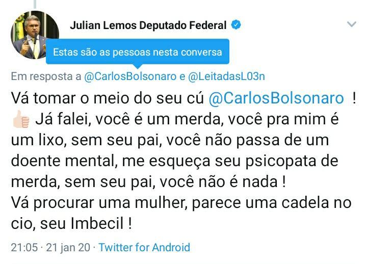 "JULIAN TWITTER CARLOS 1 - ""CADELA NO CIO"": Julian Lemos volta a discutir com Carlos Bolsonaro no Twitter - OUÇA"