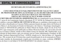 Divulgado edital de convocação dos 1000 aprovados em concurso para professor da rede estadual da PB
