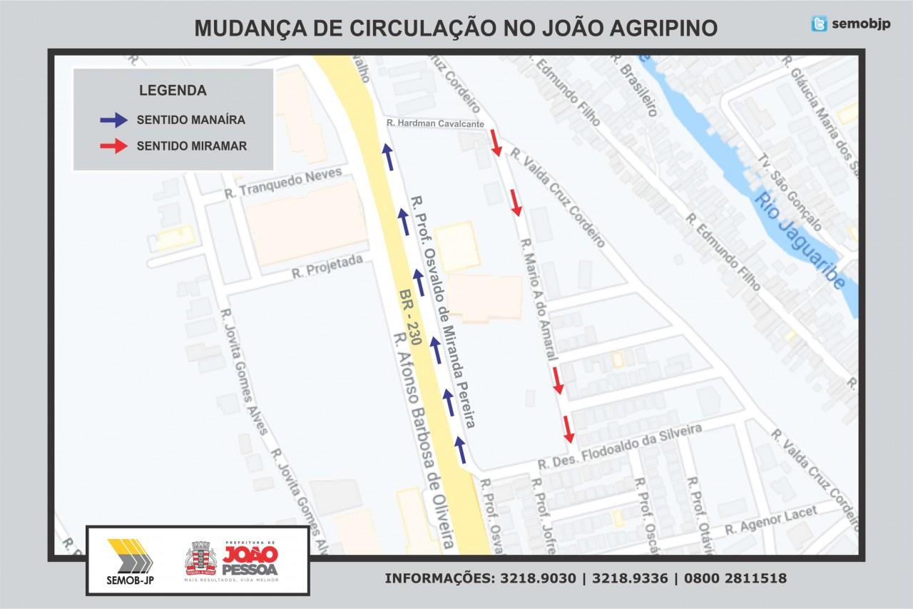 mapa semob - Semob-JP altera trânsito e trecho no bairro João Agripino passa a funcionar em mão única