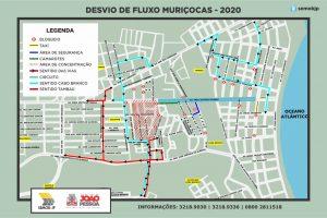 DESVIO DE FLUXO MURIÇOCAS 2020 300x200 - MURIÇOCAS DO MIRAMAR: Semob-JP divulga plano de mobilidade para o desfile