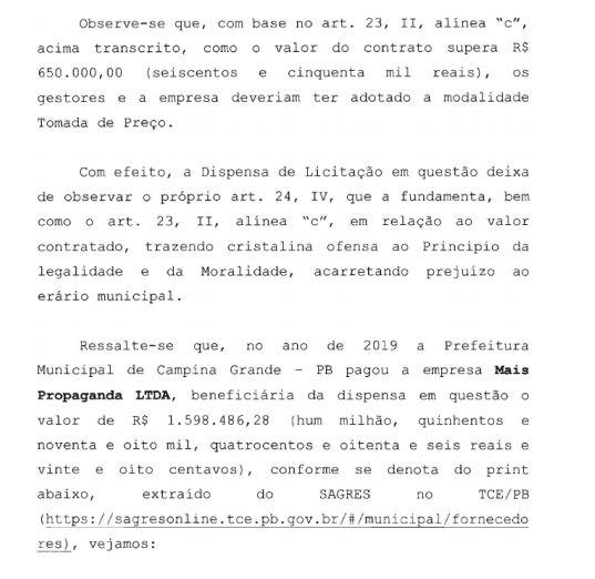 VALORES PAGOS - Auditoria do TCE aponta irregularidade em dispensa de licitação para agência de publicidade na Prefeitura de Campina; VEJA DOCUMENTO