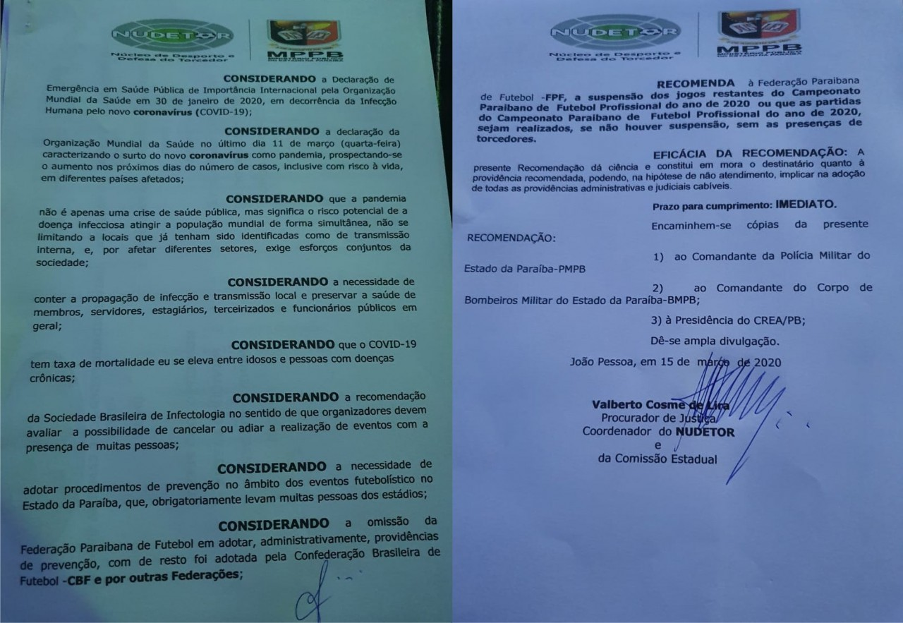 RECOMENDAÇÃO MP - Ministério Público da Paraíba recomenda paralisação do estadual ou jogos sem torcida