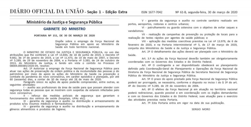 mjsp 1024x521 - Moro autoriza uso da Força Nacional para dar apoio às medidas contra o coronavírus